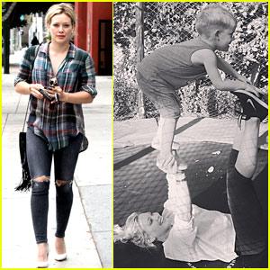 Hilary Duff & Son Luca Show Off Cirque Du Soleil Moves