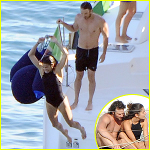 Ian Somerhalder Goes Shirtless While Jumping Off a Boat With Nikki Reed in Italy