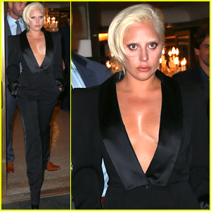 Lady Gaga Flaunts Some Major Cleavage in Revealing Suit