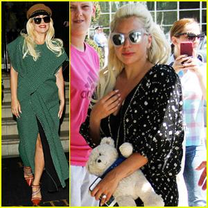 Lady Gaga Carries Cute Teddy Bear Through London Airport