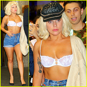 Lady Gaga Wears a White Bra with No Shirt in NYC