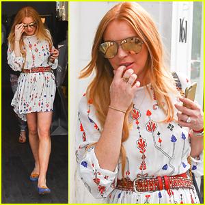 Lindsay Lohan Shops In Knightsbridge After i-D 35 x Jeremy Scott Party
