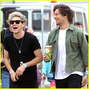 Niall Horan & Louis Tomlinson Hit Glastonbury Music Fest With Douglas Booth
