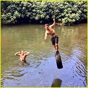 Zac Efron & Adam DeVine Swing Shirtless into a Lake