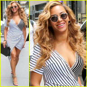 Beyonce Sports a Curve-Hugging Dress in the Big Apple