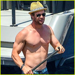 Chris Hemsworth Goes Shirtless in Corsica wi