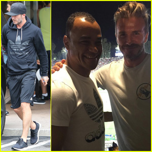 David Beckham Hangs Out With Brazilian Soccer Legend Cafu