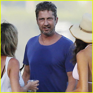 Gerard Butler Parties on the Beach for Fourth of July With Girlfriend Morgan Brown
