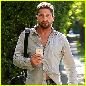 Gerard Butler Takes His Cute Dog Lolita For a Walk