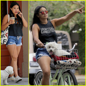 Gina Rodriguez Takes Her Adorable Pup for a Bike Ride!