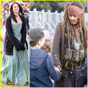 Johnny Depp & Kaya Scodelario Are Fan Friendly on 'Pirates of the Caribbean: Dead Men Tell No Tales' Set
