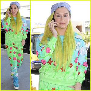 Kesha Wears Neon Green Ensemble on Independence Day