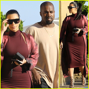 Kim Kardashian Shows Off Her Growing Baby Bump at Lunch With Kanye West