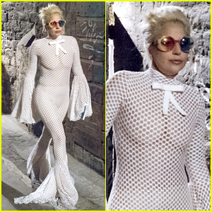 Lady Gaga Wears a Completely Mesh Jumpsuit in Italy