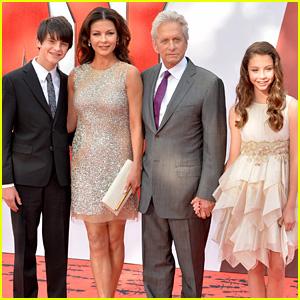 Michael Douglas & Catherine Zeta-Jones Bring Their Children to 'Ant-Man' Premiere in London