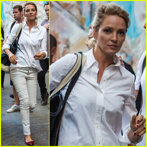 Uma Thurman Gets to Work on 'The Brits Are Coming' in NYC