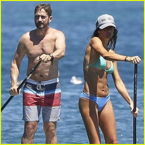 Gerard Butler Goes Shirtless While Hitting the Beach With Bikini-Clad Girlfriend Morgan Brown