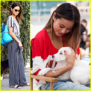 Jamie Chung Finds Puppy Love On NFL Style Campaign Shoot