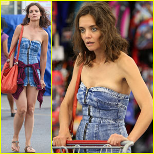 Katie Holmes Dons Super Short Denim Dress for 'All We Had'