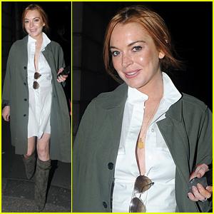 Lindsay Lohan Rocks Knee-High Boots in London