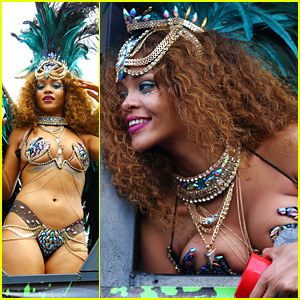 Rihanna Rocks Revealing Jeweled Bikini for Kadooment Day Parade