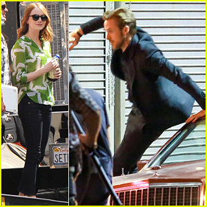 Ryan Gosling Chases After Emma Stone On 'La La Land' Set