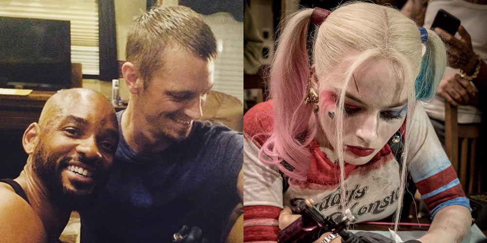 Suicide squad stars tattoo each other with skwad for Suicide squad face tattoo