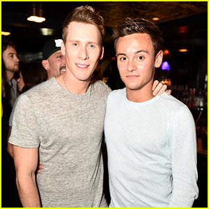 Tom Daley & Dustin Lance Black Couple Up at Just Jared's Wonderland Party!