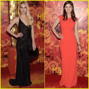 Emma Roberts & Alexandra Daddario Keep It Sleek for HBO's Post-Emmys Bash