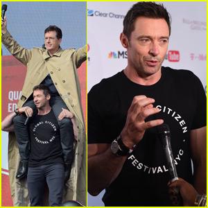 Hugh Jackman Gives Stephen Colbert a Shoulder Ride at Global Citizen Festival 2015