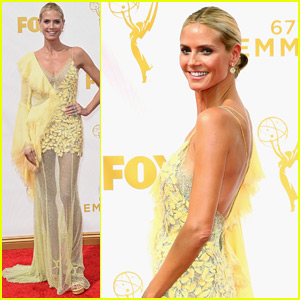 Heidi Klum Goes Yellow on the Red Carpet at the Emmys 2015!