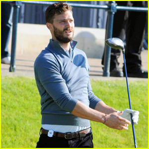Jamie Dornan Practices for Golf Competition in Scotland