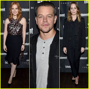 Jessica Chastain & Matt Damon Run Into Emily Blunt at EW's Must-List Party at TIFF 2015