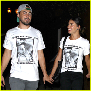 Jessica Szohr & Boyfriend Scotty McKnight Wear Matching Shirts at Friend's Birthday Party