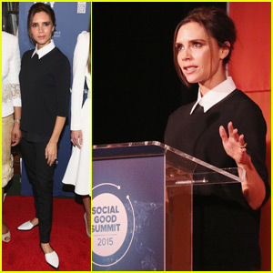 Victoria Beckham Speaks at Social Good Summit 2015 With Connie Britton & Adrian Grenier
