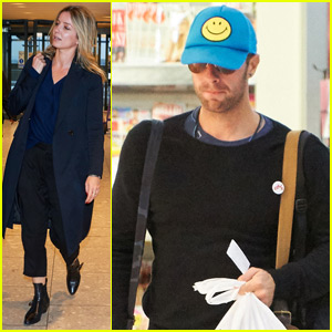 Chris Martin & Annabelle Wallis Fly Out of London Together
