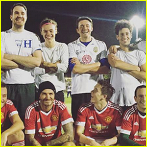 David Beckham Plays Soccer with Son Brooklyn & Harry Styles