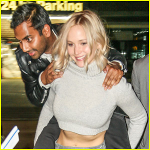 Jennifer Lawrence Gives Aziz Ansari a Piggyback Ride in NYC!