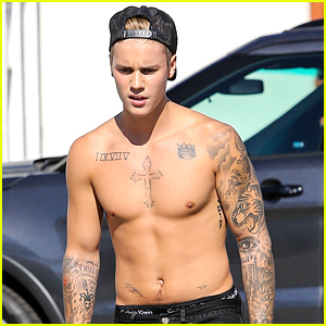 Justin Bieber Bares It All in Full Frontal Pool Photos