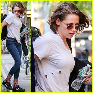 Kristen Stewart Wears Marijuana Leaf Socks & Holes In Her Shirt