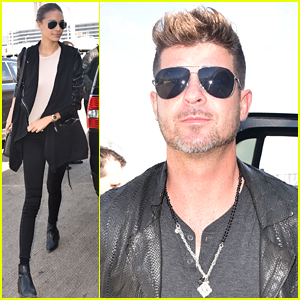 Robin Thicke and Girlfriend April Love Geary Dash Out of Town