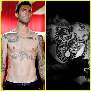 Adam Levine Debuts Giant New Back Tattoo of a Mermaid!
