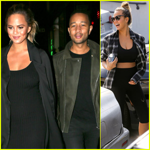 Chrissy Teigen Shows Off Barely There Baby Bump in Sports Bra