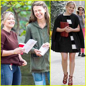 Hilary Duff & Sutton Foster Are Little Birds On The Set Of 'Younger'