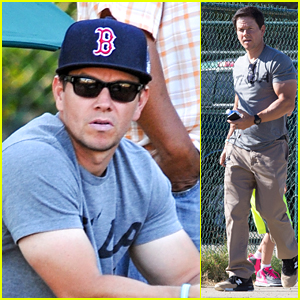 Mark Wahlberg Watches Son's Soccer Game with a Bull