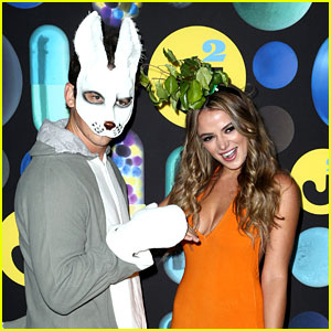 Miles Teller & Girlfriend Keleigh Sperry Dress as a Bunny & Carrot at Just Jared's Halloween Party!