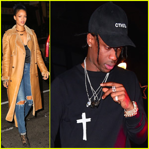 Rihanna Steps Out WIth Travis Scott at 40/40 Club to Watch Vegas Fight Together