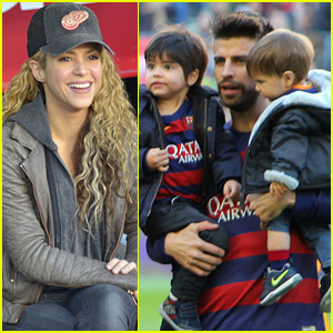Shakira Supports Gerard Pique with Their Sons Milan & Sasha
