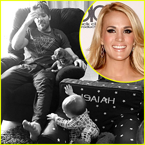 Carrie Underwood & Mike Fisher Watch Sunday Cartoons with Son Isaiah