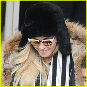 Madonna Keeps it Fuzzy Leaving Her Hotel